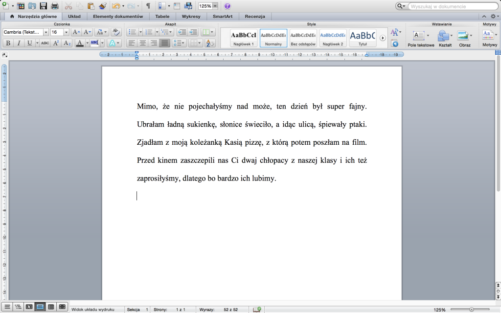 MS Word 2011 for Mac (kliknij wobrazek, żebygo powiększyć)